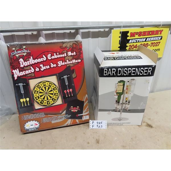 (F) New Bar Jigger Dispenser, & New Dartboard Cabinet