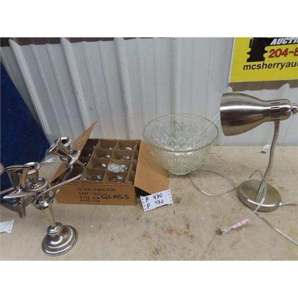 (F) Candle Holder, Punch Bowl Set,  & Desk Lamp