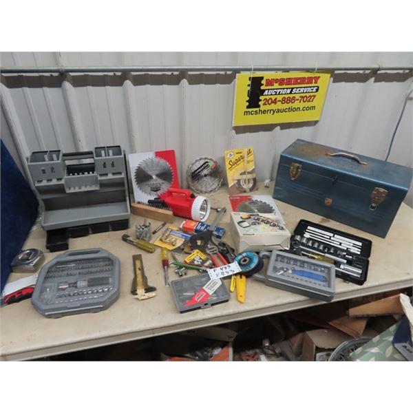 (F) Metal Tool Box, Odds & Ends Tools, Tap & Die, Circ Blades, Socket Sets, Wire Brushes, Screw Bit