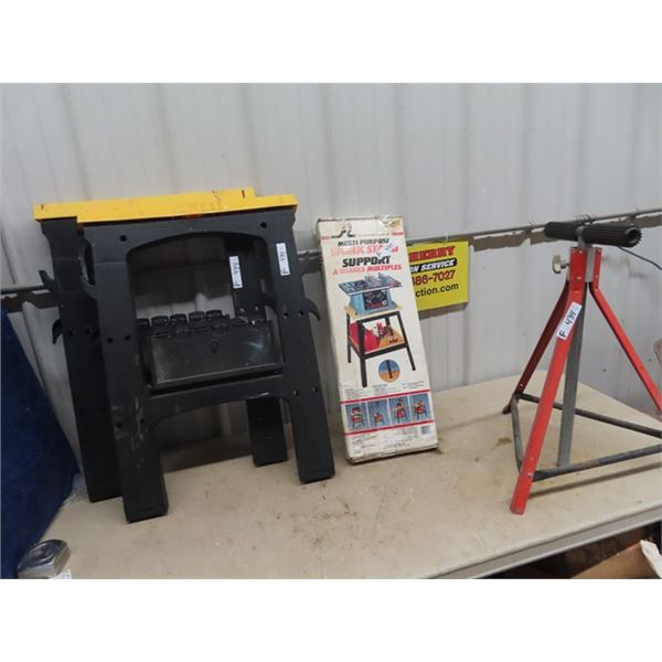 (F) New Unassembled Power Tool Stand & 2 Folding Saw Horses, Roller Stand