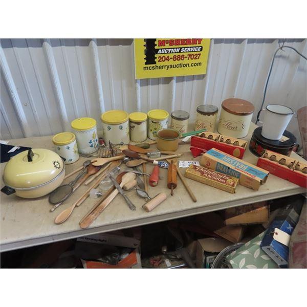 Vintage Cannister Sets, Wooden Utensils, Old Egg Crates, Enamelware Plus More!