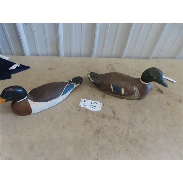 2 Wood Carved Duck Decoys