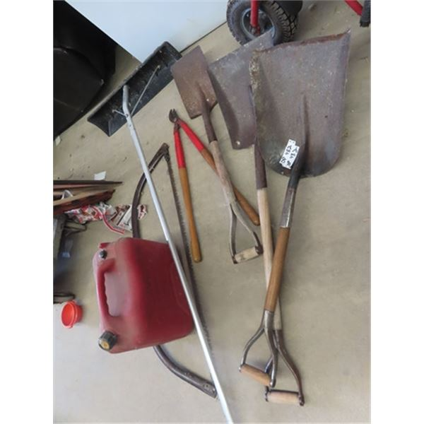 Shovels, Roof Rake, Clippers, Saw & Gas Can