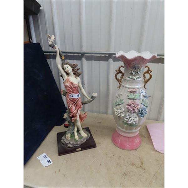 """Large Lady Ornament/Statue 28"""" T & Vase 24"""" T"""