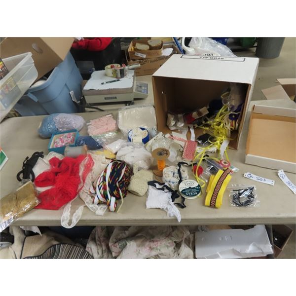 Large Box of Various Craft / Sewing Supplies