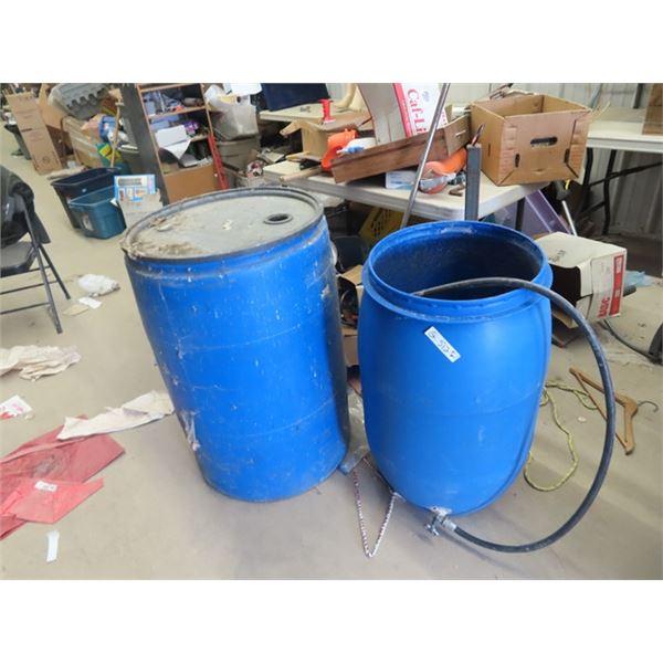 2 Blue Poly Barrels