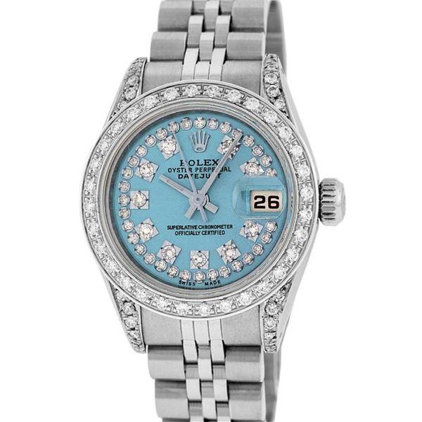 Rolex Ladies Stainless Steel 26MM Blue String Diamond Lugs Datejust Wristwatch