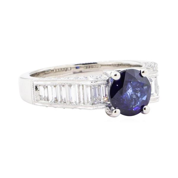 2.60 ctw Sapphire And Diamond Ring - 18KT White Gold