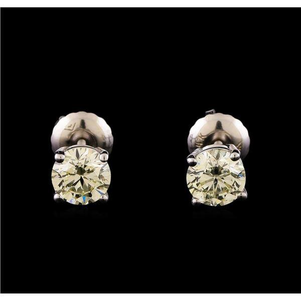 14KT White Gold 0.98 ctw Diamond Solitaire Earrings