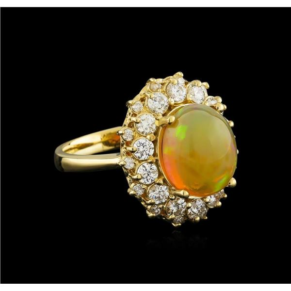 3.70 ctw Opal and Diamond Ring - 14KT Yellow Gold