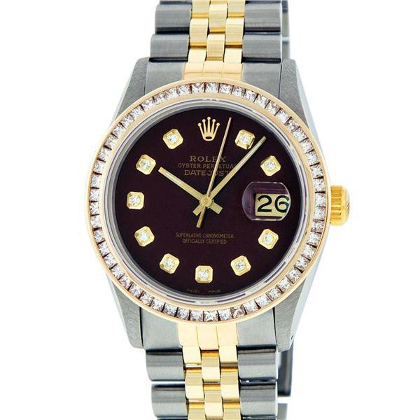 Rolex Mens 2 Tone Maroon Princess Cut Diamond Datejust Wristwatch With Rolex Box