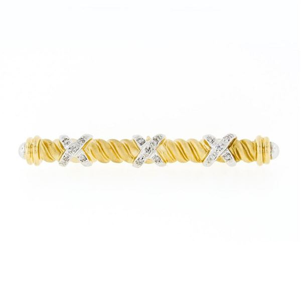 "Estate 14k Gold Single Cut Diamond ""X"" Figure Satin Twisted Cable Bar Pin Brooch"