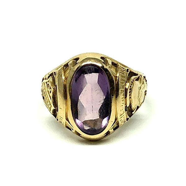 3.70 ctw Cabochon Mixed Amethyst Ring - 14KT Yellow Gold