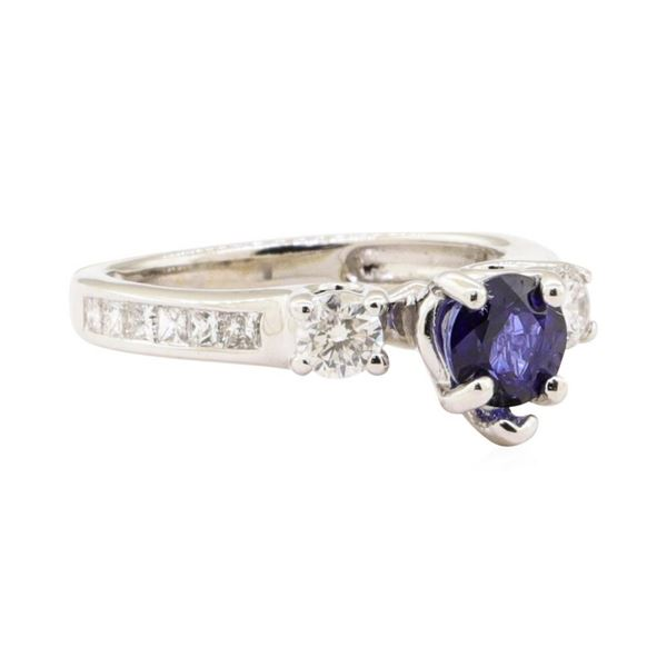 1.23 ctw Blue Sapphire and Diamond Ring - 14KT White Gold