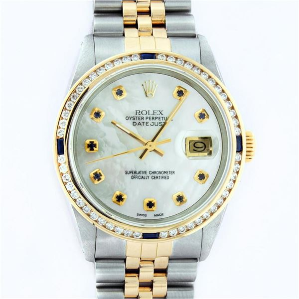 Rolex Mens 2 Tone MOP Sapphire Diamond Channel Set Datejust Wristwatch