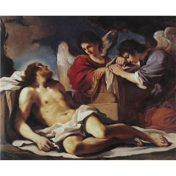 Guercino(Giovanni Francesco Barbieri)-Angels weeping over the dead Christ