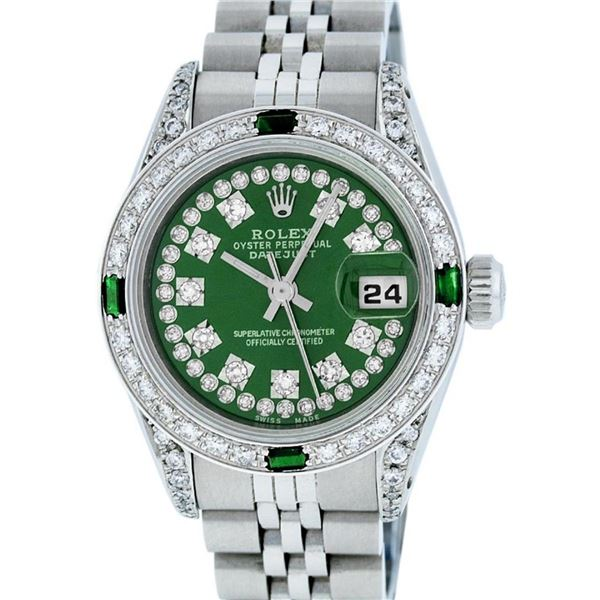Rolex Ladies Stainless Steel 26MM Green Diamond Lugs Oyster Perpetual Datejust W