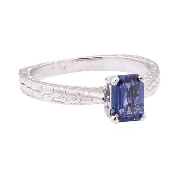1.09 ctw Blue Sapphire Solitaire Ring - 14KT White Gold