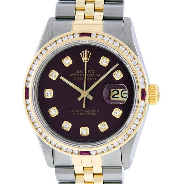 Rolex Mens 2 Tone Maroon & Ruby Channel Set Diamond Datejust Wristwatch