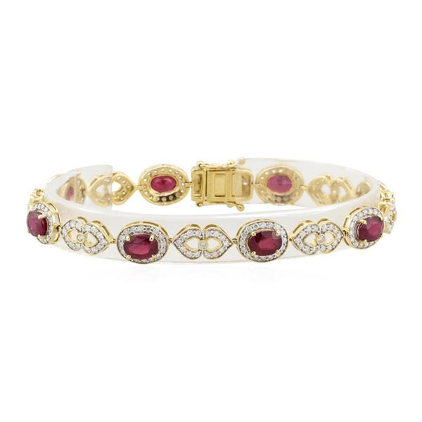 9.32 ctw Ruby and Diamond Bracelet - 14KT Yellow Gold