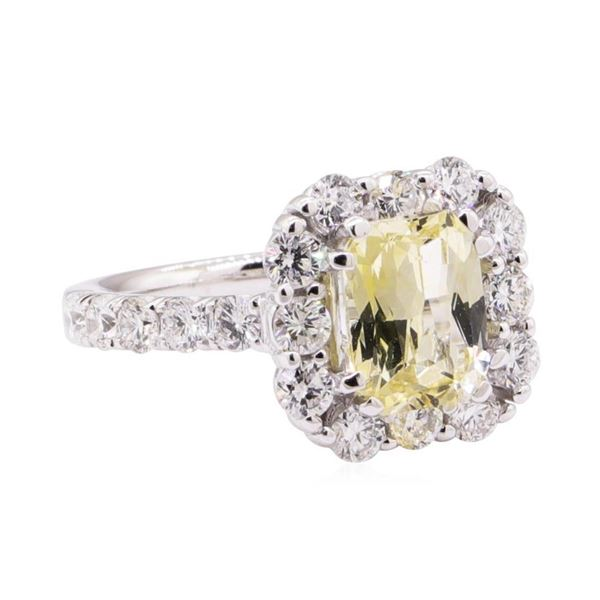 3.19 ctw Yellow Topaz And Diamond Ring - 18KT White Gold