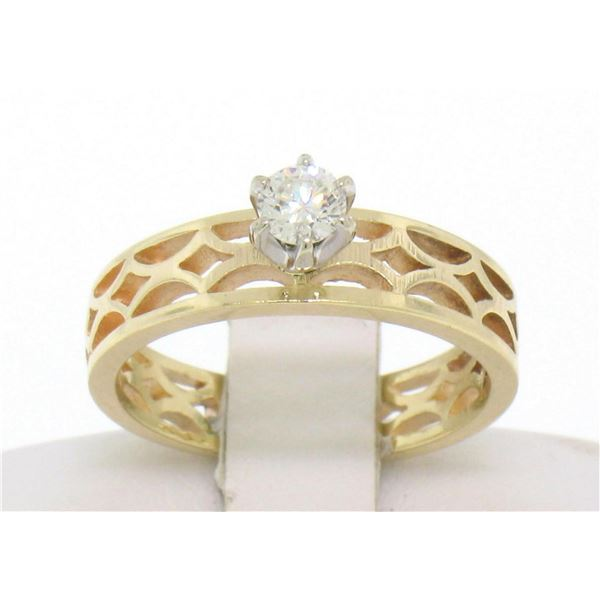 Estate 14k Solid Yellow Gold Solitaire Diamond Ring with Pierced Open Work Look