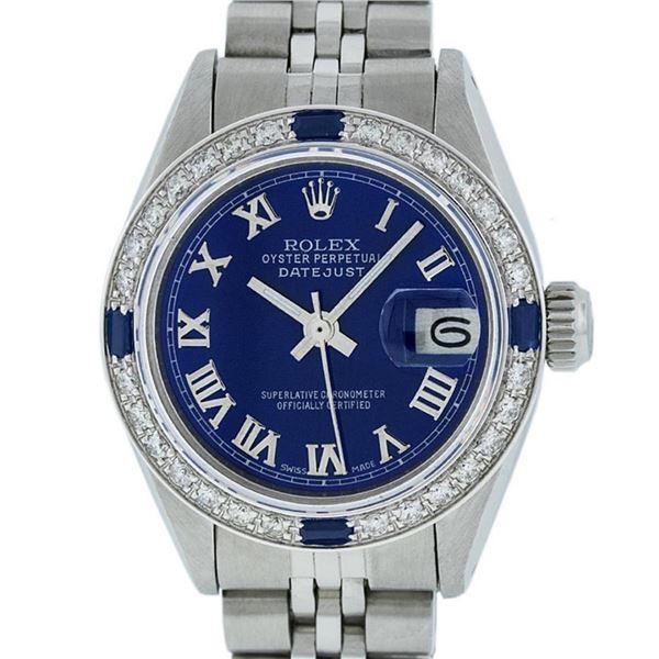 Rolex Ladies Stainless Steel Blue Diamond & Sapphire 26MM Datejust Wristwatch
