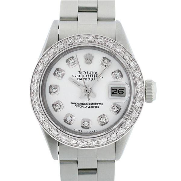 Rolex Ladies Stainless Steel White Diamond 18K Gold Bezel Datejust Wristwatch