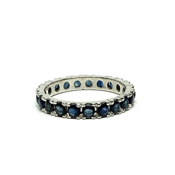 1.67 ctw Round Brilliant Blue Sapphires Ring - 18KT White Gold