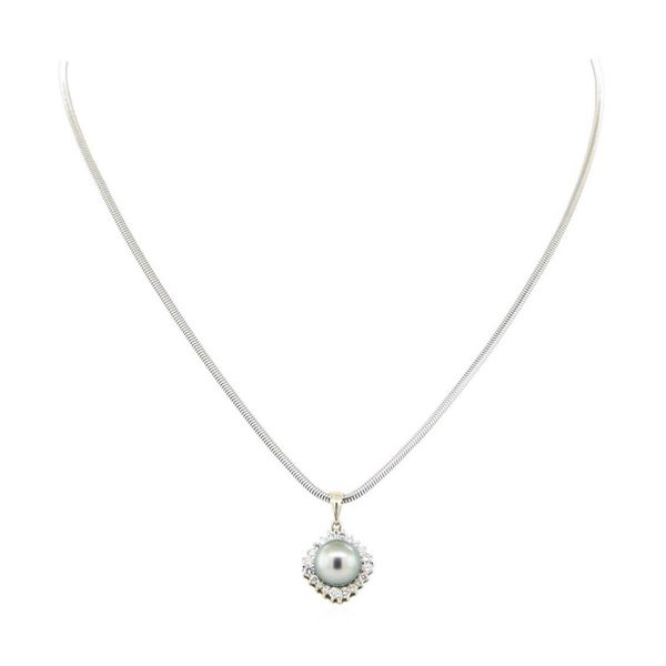 0.64 ctw Diamond and Pearl Pendant & Chain - 14KT White Gold