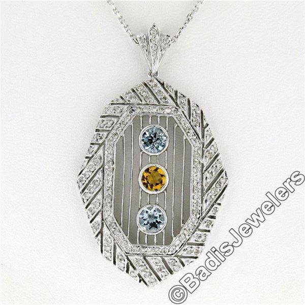 18kt White Gold 2.15 ctw Aquamarine, Citrine, & Diamond Open Milgrain Pendant Ne