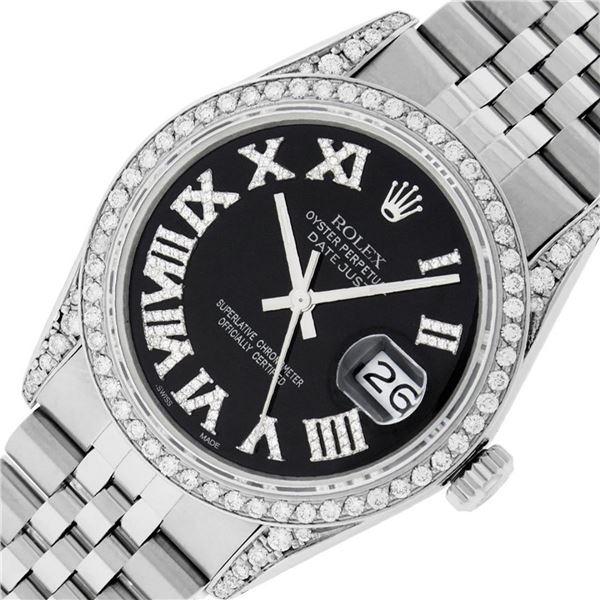 Rolex Mens Stainless Steel Black Roman Diamond Datejust Wristwatch 36MM