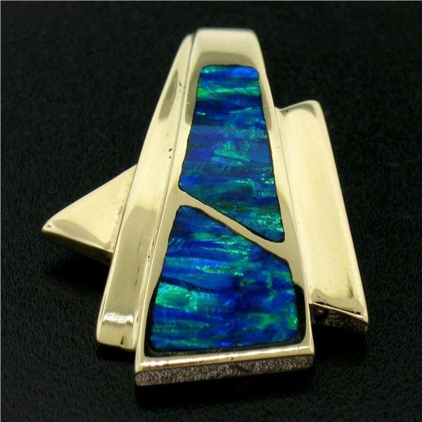 14k Yellow Gold 2 Inlaid Freeform Geometric Blue & Green Boulder Opal Pendant