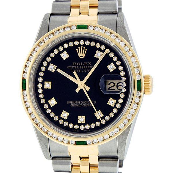 Rolex Mens 2 Tone Black String Diamond & Emerald 36MM Datejust Wristwatch