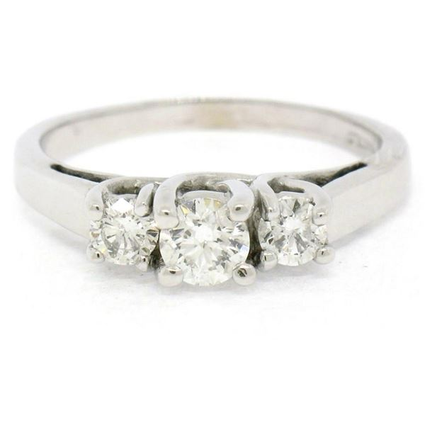Classic 14k White Gold 0.45 ctw Three Stone F VS2 Round Diamond Engagement Ring