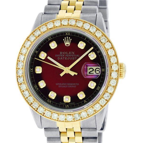 Rolex Mens 2T 18K Red Vignette 2.5 ctw Diamond Datejust Wristwatch With Rolex Bo