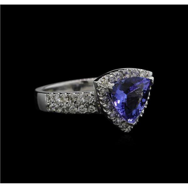 1.96 ctw Tanzanite and Diamond Ring - 14KT White Gold