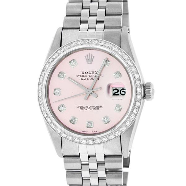 Rolex Mens Stainless Steel Pink Diamond Oyster Perpetual Datejust Wristwatch
