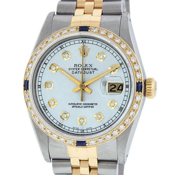 Rolex Mens 2 Tone Silver & Sapphire Diamond 36MM Datejust Wristwatch