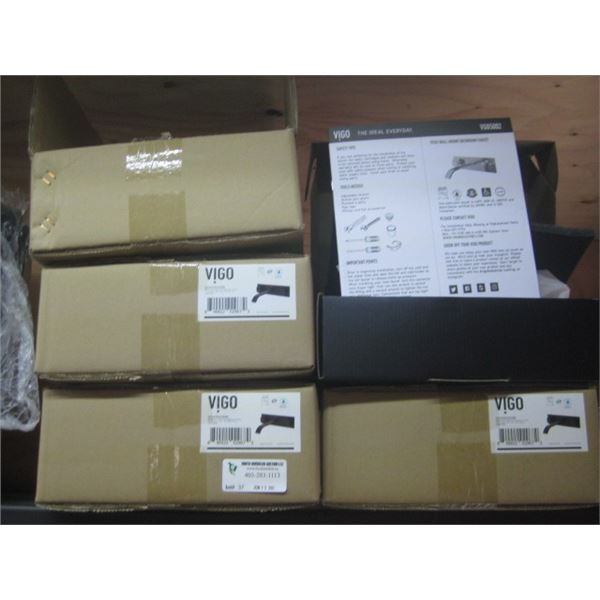 4PC VIGO VG05002MB MATTE BLACK WALL MOUNT VESSEL SINK FAUCET