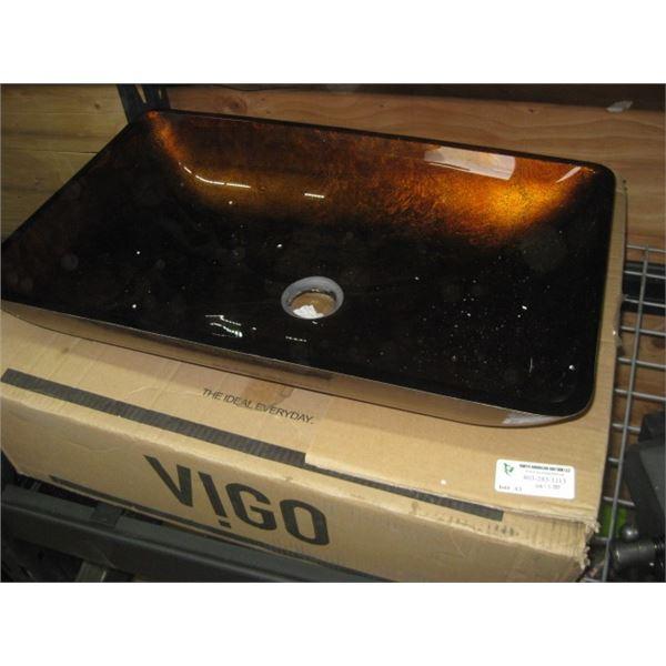VIGO VG07047 VESSEL SINK GLASS BROWNISH