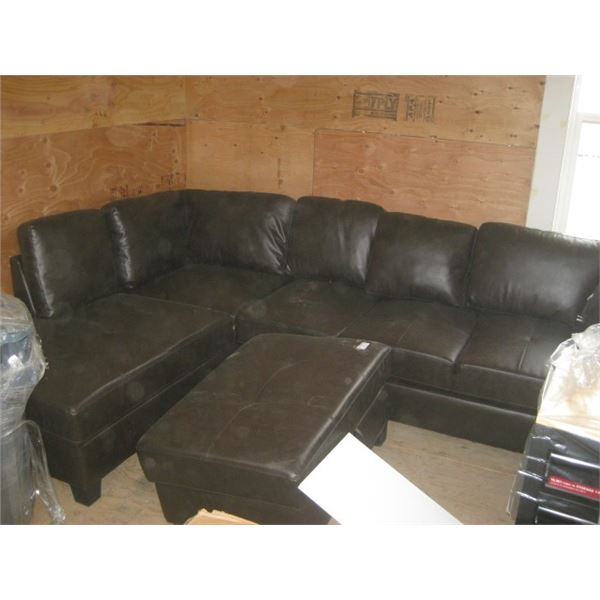 APPROX 9X6 FAUX BROWN LEATHER COUCH L SHAPE DAMAGED USED