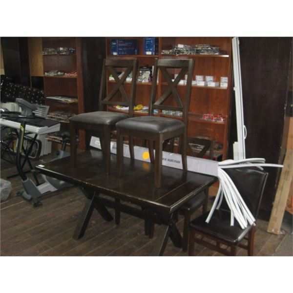 36X 59 INCH COSTCO STYLE KITCHEN TABLE W/ 4 CHAIRS