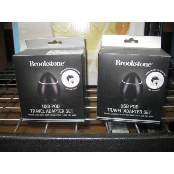 2PC BROOKSTONE USB POD TRAVEL ADAPTER SET