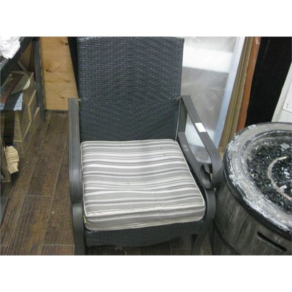 PAIR OF USED WOVEN PATIO SIDE CHAIRS