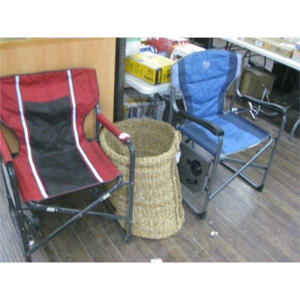 PAIR OF WORN CAMPING CHAIRS