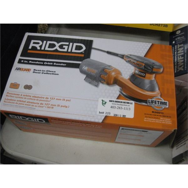 NEW RIDGID 5 INCH RANDOM ORBIT SANDER