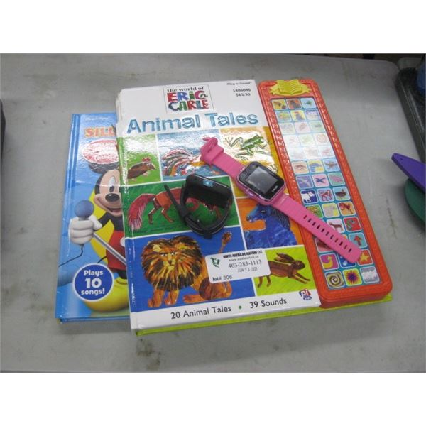 PAIR OF AS IS KIDS BOOKS AND PAIR OF KIDS VTECH SMART WATCHED