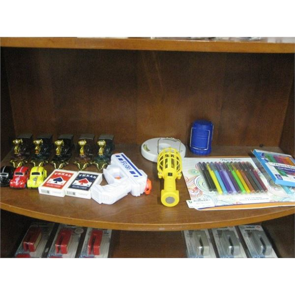 SHELF OF TOYS GAMES COLORING ETC