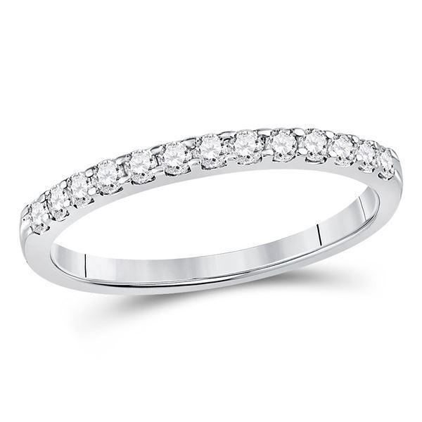 Round Diamond Single Row Machine-set Wedding Band 1/4 Cttw 14KT White Gold